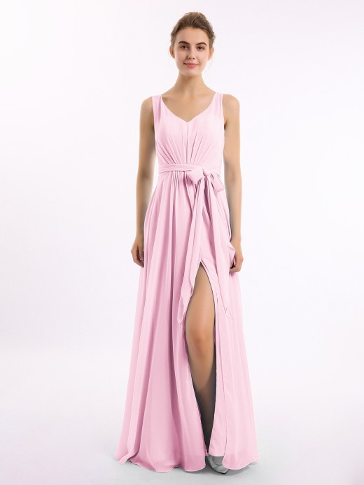 Babaroni Delia V-neck Chiffon Bow Sash Gowns with Split
