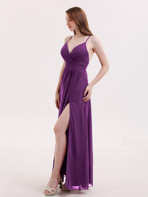 Babaroni Delilah Sexy Deep V Neck Dress with Slit