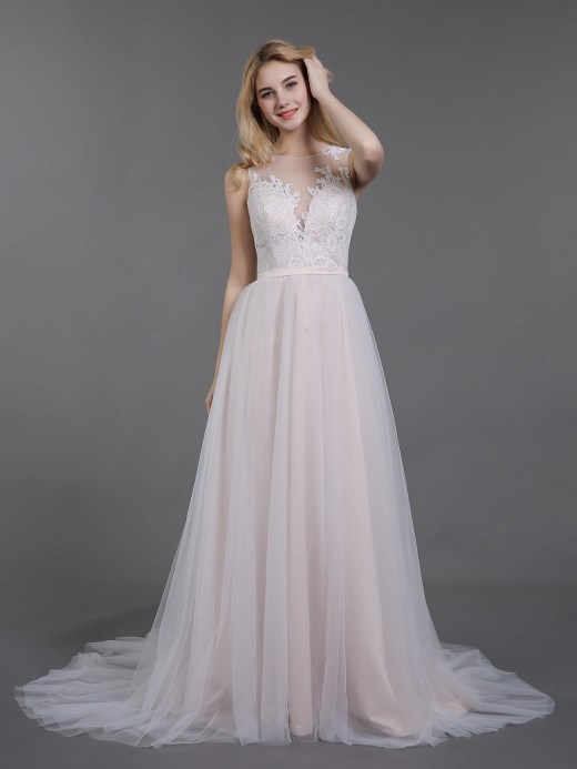 Babaroni Demi Lace and Tulle Wedding Dress with Button Back