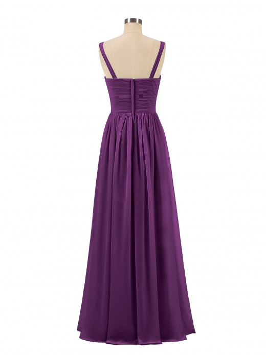 Babaroni Desdemona Pleated Chiffon Bodice Long Gown with Straps