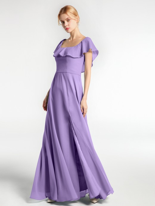 Babaroni Dinah Square Neck Long Chiffon Dress with Front Slit