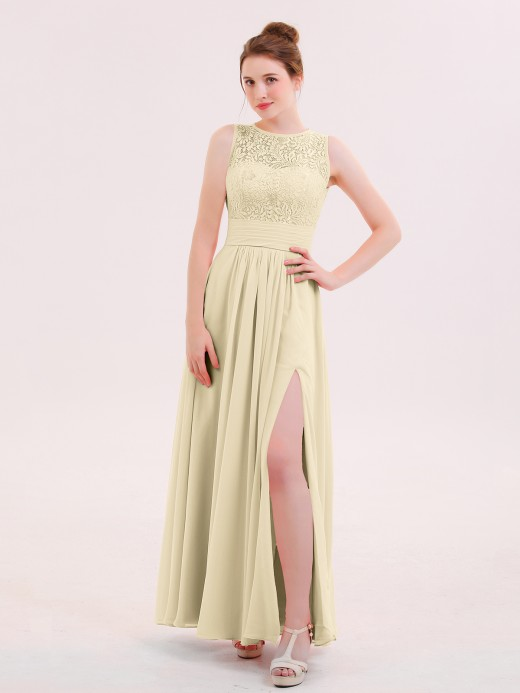 Babaroni Dione Illusin Neck Lace and CHIffon Dress with Slit