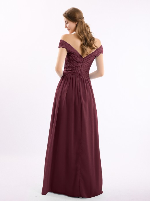 Babaroni Donna Lace Top Chiffon Bottom Dress with Cap Sleeves
