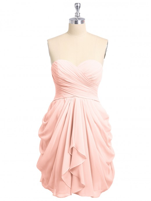 d04f46aa5ff Coral Chiffon Sweetheart Pleated Bridesmaid Dresses   Bridesmaid ...