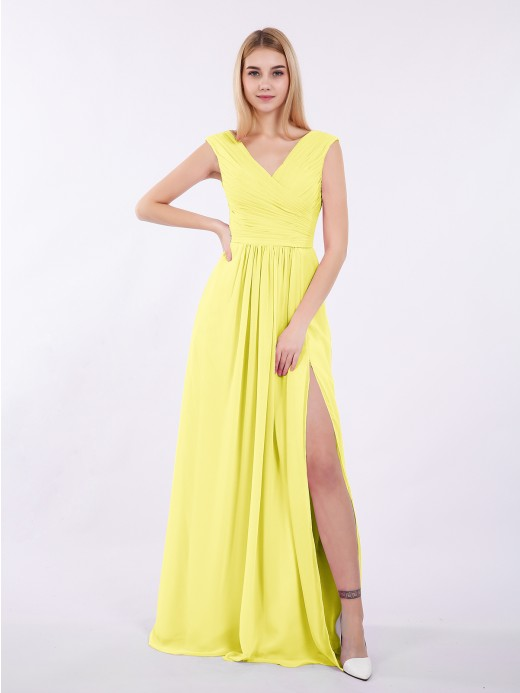 Babaroni Eartha V Neck Chiffon Gown with Cap Sleeves