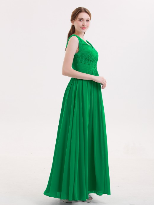 Babaroni Easter V Neck Maxi Chiffon Dresses with Ziper Back