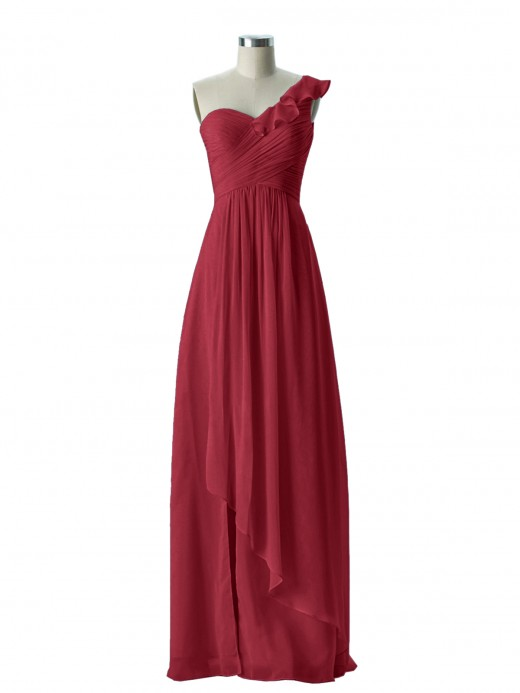 Babaroni Eden One ruffle Shoulder Long Bridesmaid Dress
