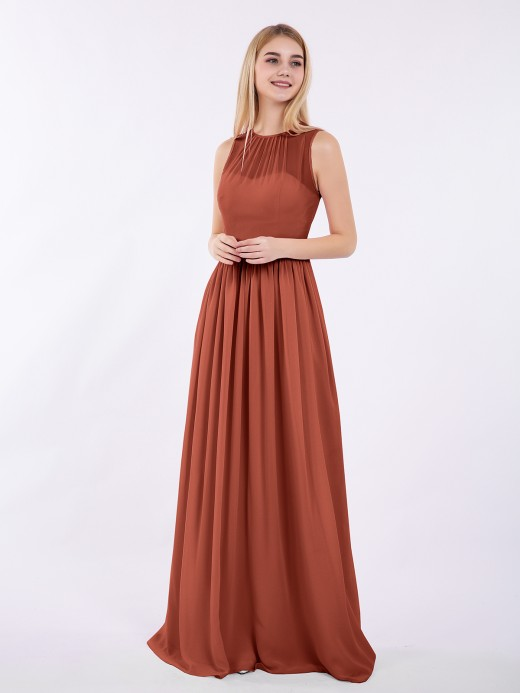 Babaroni Edith Illusion Neck Full Length Bridesmaid Dress