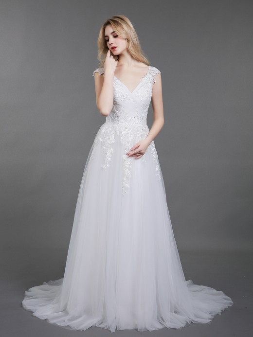 Babaroni Eira Open Back Tulle Bridal Gown with Cap Sleeves