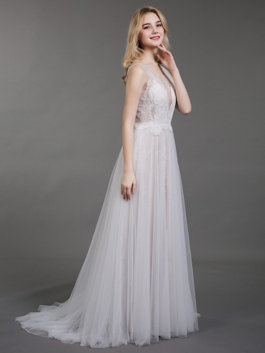 Babaroni Elaine Lace and Tulle Simple Beach Wedding Dress