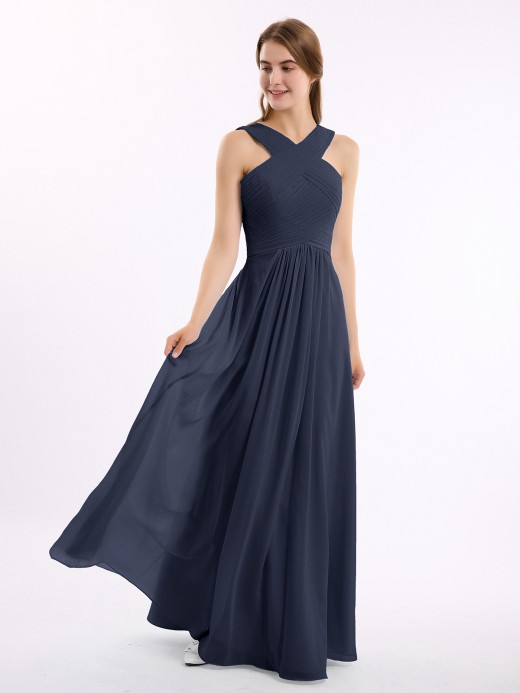 Eleanora Cross Shoulder Strap Chiffon Dress with Empire Waist US10