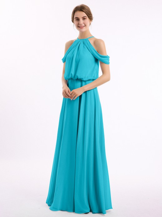 Babaroni Elodie Halter Off the Shoulder Dress with blouson bodice