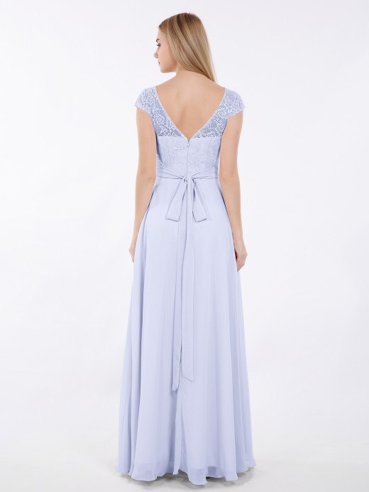 Babaroni Elsa Cap Sleeves Chiffon Dress with Sash