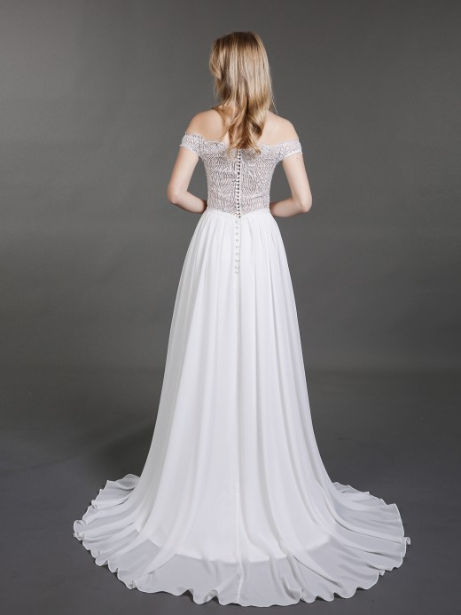 Babaroni Elsie See Through Bodice Off Shoulder Wedding Gown