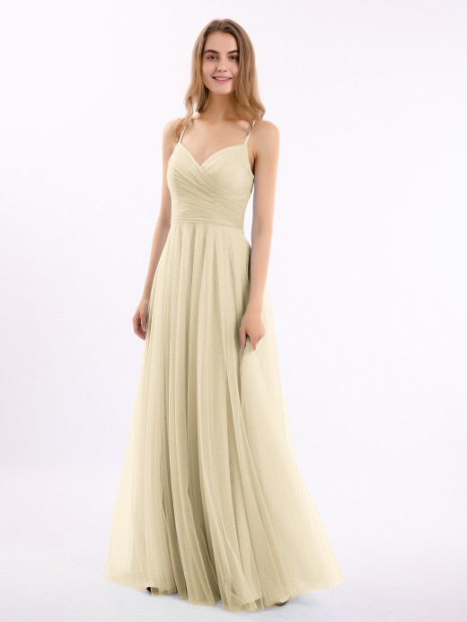 Elva Spaghetti Strap Long Tulle Dress with Sweetheart US14