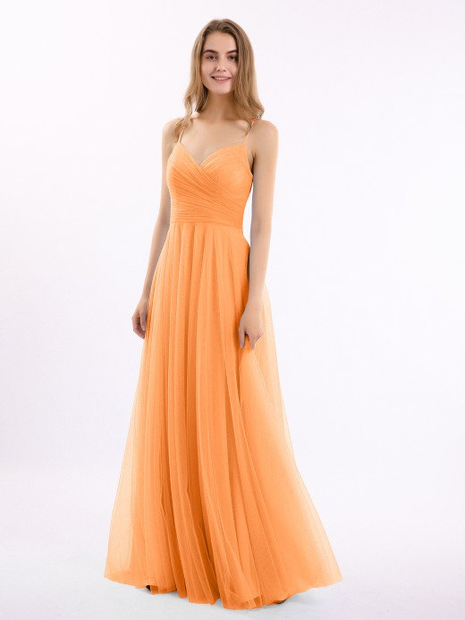 Babaroni Elva Spaghetti Strap Long Tulle Dress with Sweetheart