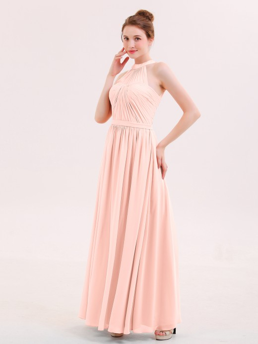 Babaroni Elvira Halter Chiffon Long Bridesmaid Gown with Belt