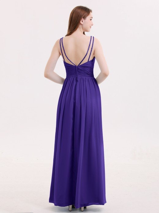 Babaroni Emerson Double Beaded Strap Chiffon Dress with V Neck