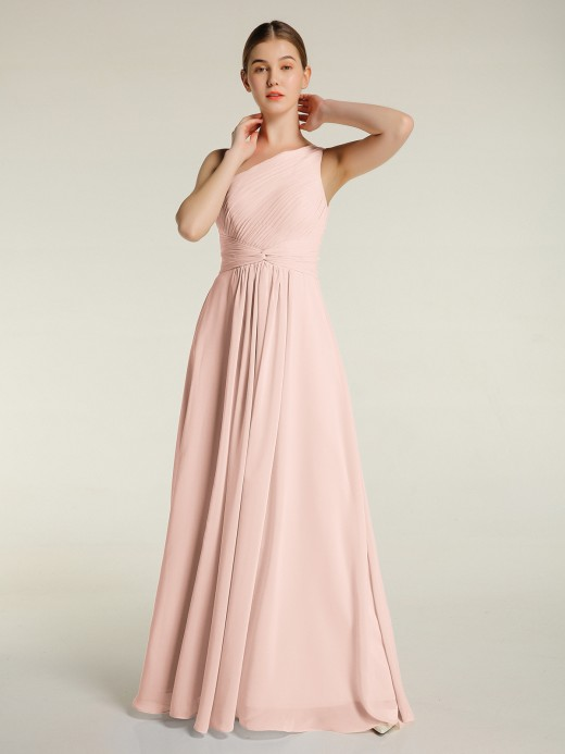 Babaroni Emily One Shoulder Dresses with Pleated Bodice