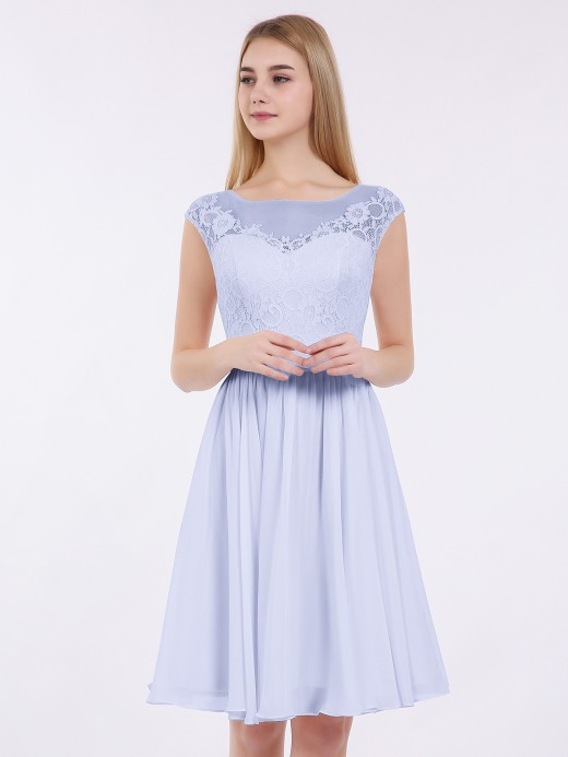 Babaroni Erica Chiffon and Lace Short Bridesmaid Gown