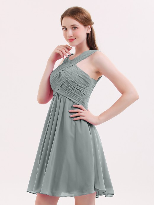 Babaroni Ethel Cross-Front Empire Waist Short Bridesmaid Dress