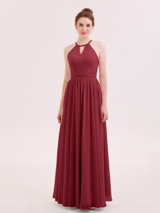 Babaroni Fanny Halter Long Chiffon Dress of Bridesmaids