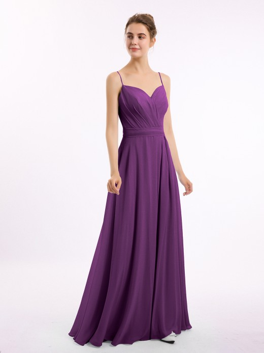 Babaroni Freda Spaghetti Strap Sweetheart Neck Chiffon Dress