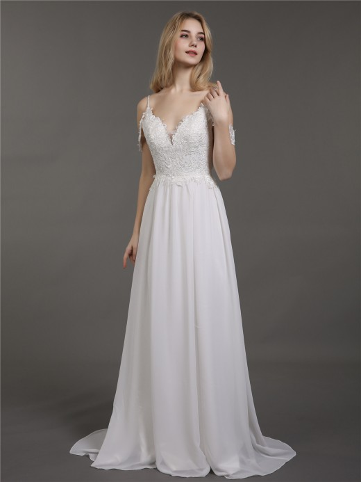 Babaroni Gaia Spaghetti Strap Chiffon Simple Wedding Dress