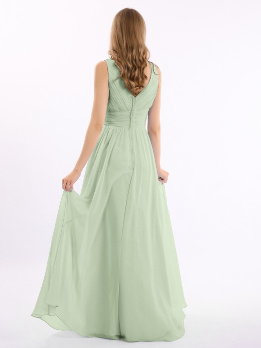 Gail V Neckline Floor Length Chiffon Dresses US6
