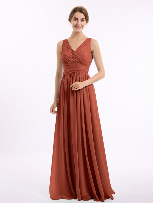 Gail V Neckline Floor Length Chiffon Dresses US8