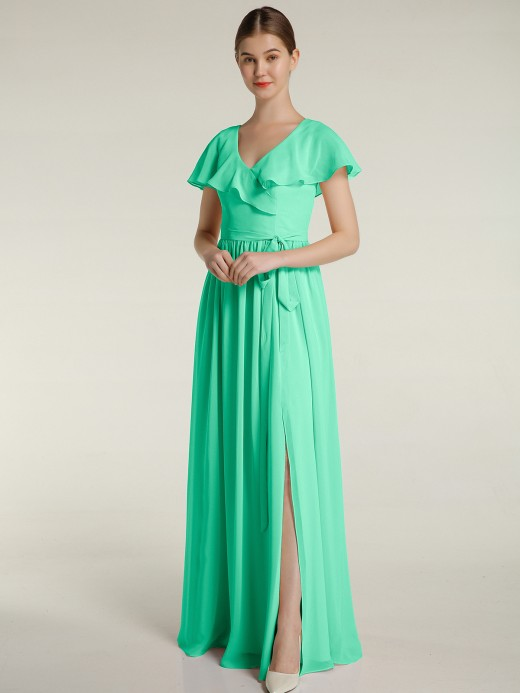 Babaroni Gemma Cap Sleeves Long Chiffon Dresses with Slit