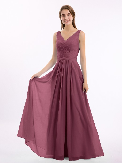 Georgia V-neck Chiffon Long Dress of Bridesmaids US6