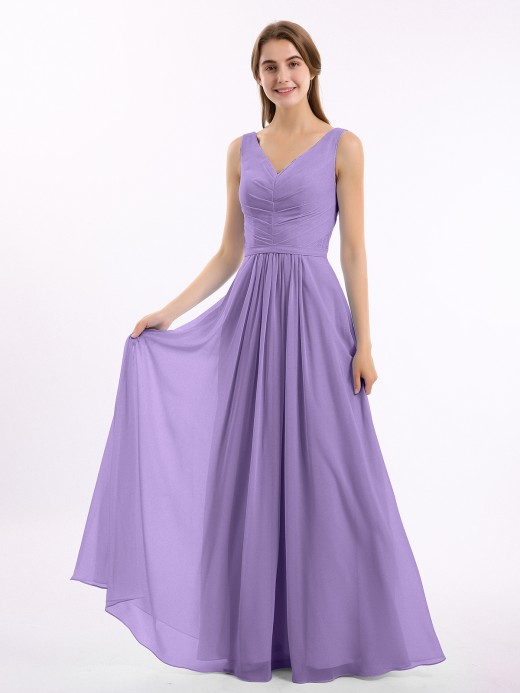 Babaroni Georgia V-neck Chiffon Long Dress of Bridesmaids