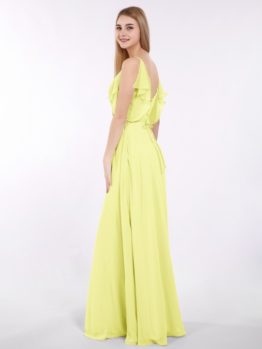Babaroni Gill Spaghetti Strap Chiffon Dress with V-neck