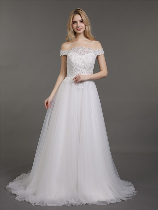 Babaroni Gina Off the Shoulder Lace and Tulle Wedding Gown