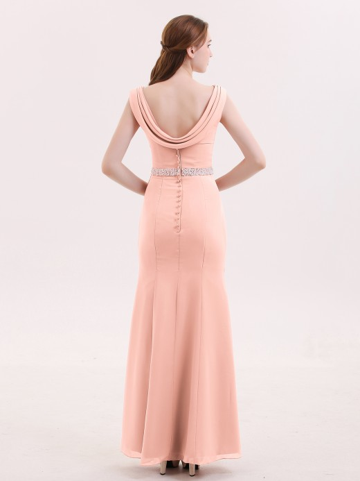 Babaroni Gloria Chiffon Sheath Dress with Beaded Waistband