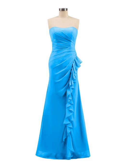 Babaroni Griselda Strapless Sheath Chiffon Dress with Ruffles