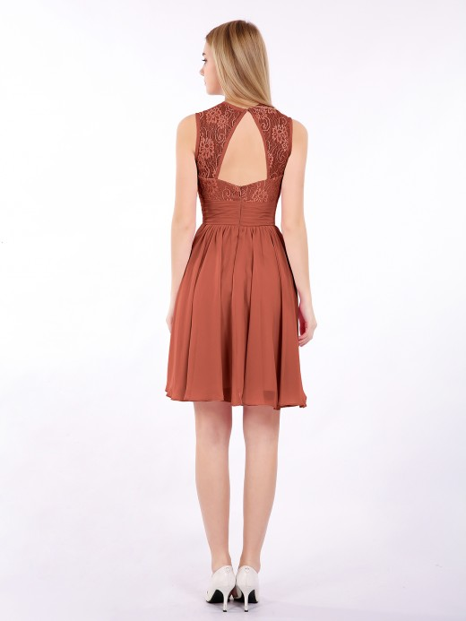 Babaroni Harriet Illusion Neck Chiffon and Lace Dress