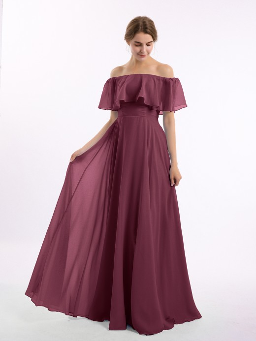 Babaroni Hazel Off the Shoulder Chiffon Full Length Dress