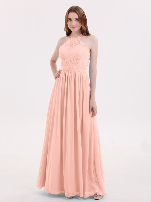 Babaroni Hedda Chiffon Maxi Halter Dress with Lace Bodice