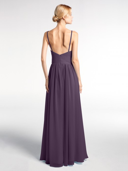 Babaroni Hedy Deep V-neck Empire Waist Chiffon Long Dress