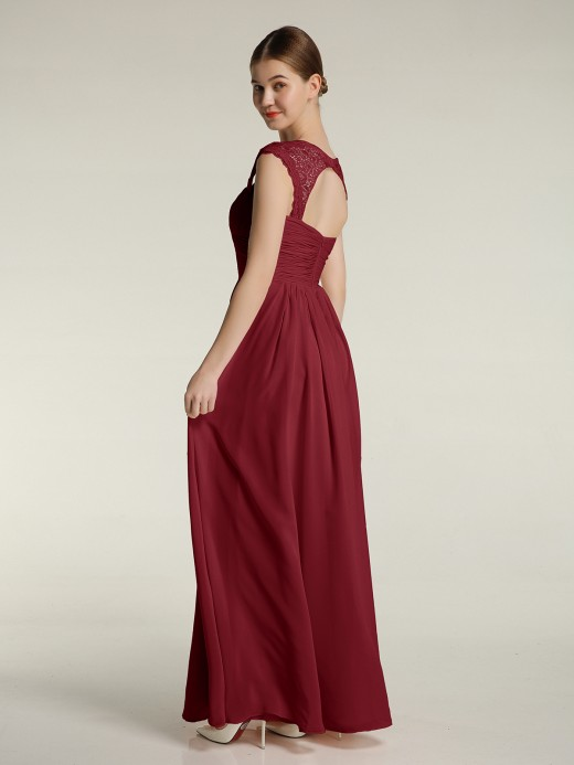 Helen Sweetheart Chiffon Dresses with Lace Cap Sleeves US8