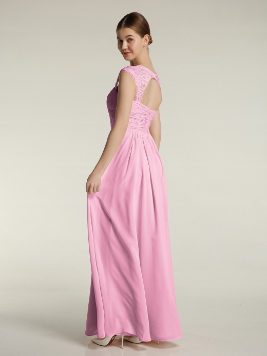 Babaroni Helen Sweetheart Chiffon Dresses with Lace Cap Sleeves