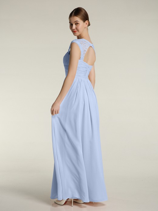 Helen Sweetheart Chiffon Dresses with Lace Cap Sleeves US14