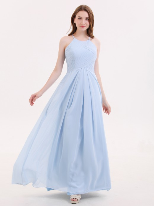 Heloise Long Chiffon Halter Bridesmaid Dresses US10