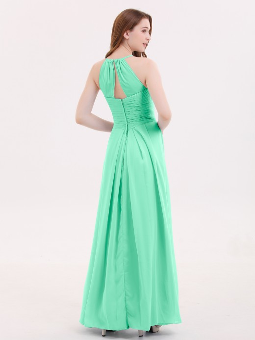 Babaroni Heloise Long Chiffon Halter Bridesmaid Dresses