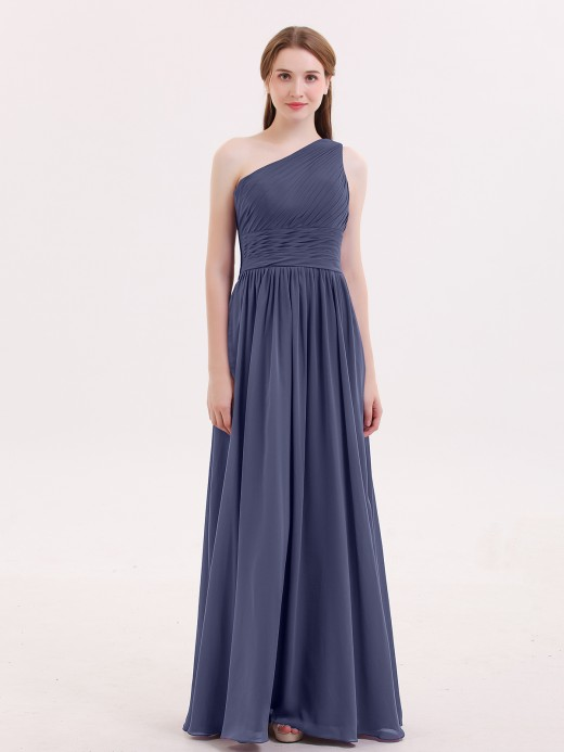 Babaroni Hermosa One Shoulder Chiffon Long Bridemaid Dresses