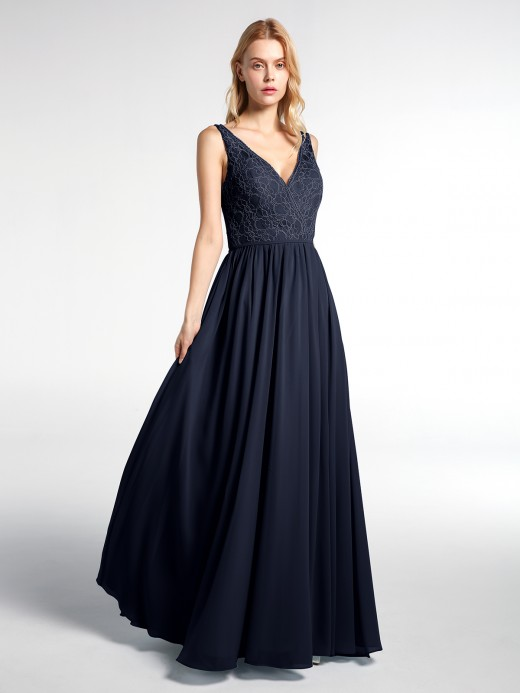 Babaroni Hilary V-neck Lace Top Chiffon Skit Maxi Dress