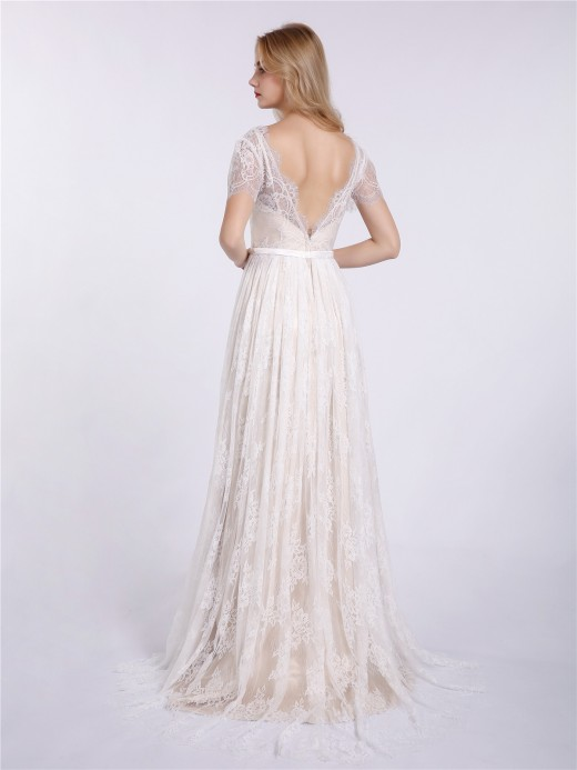 Babaroni Hulda V-neck Lace Wedding Dress with Short Sleeves