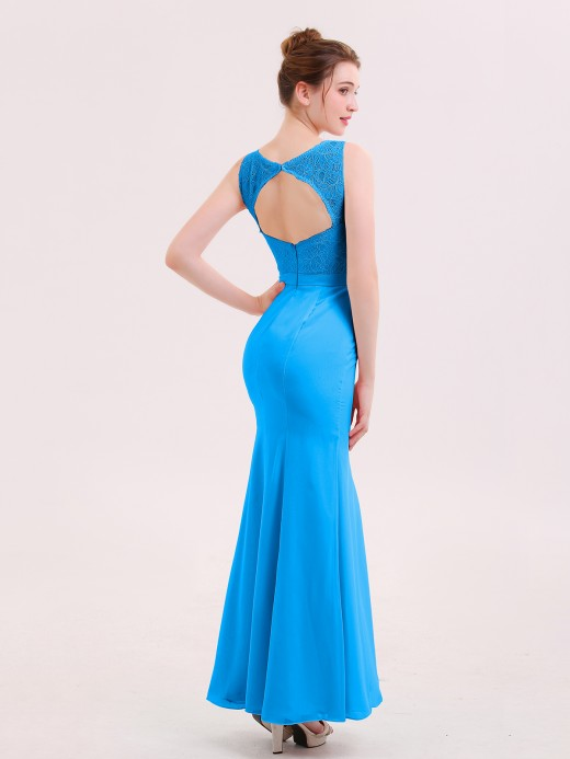 Babaroni Ingrid Illusion Neck Mermaid Dress with Open Back